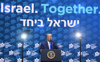 US President Donald Trump speaks at the Israeli-American Council's annual conference in Hollywood, Florida, December 7, 2019. (Noam Galai/via JTA)