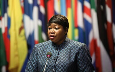 International Criminal Court chief prosecutor Fatou Bensouda addresses the 18th session of the ICC Assembly of States Parties in The Hague, December 2, 2019. (Courtesy International Criminal Court)