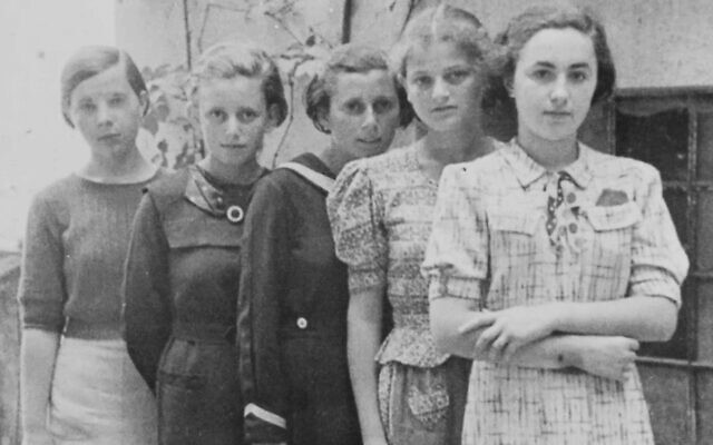 From left: an unidentified girl, Anna Herskovicova, another unidentified girl, Lea Friedmann, and Debora Gross (Adela's sister), c. 1936. (Courtesy of Heather Dune Macadam)