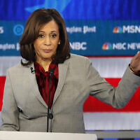 In this November 20, 2019 file photo, Democratic US presidential candidate Senator Kamala Harris of California speaks during a Democratic presidential primary debate in Atlanta. (AP Photo/John Bazemore)
