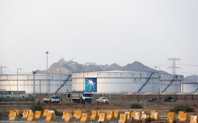 This photo from September 15, 2019, shows storage tanks at the North Jiddah bulk plant, an Aramco oil facility, in Jiddah, Saudi Arabia. (AP Photo/Amr Nabil, File)