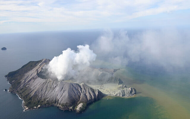 This aerial photo shows White Island after its volcanic eruption in New Zealand Dec. 9, 2019  (George Novak/New Zealand Herald via AP)