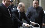 Harvey Weinstein, center, arrives for a court hearing, December 11, 2019, in New York. (AP Photo/Mark Lennihan)