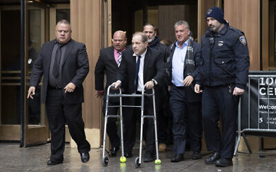 Harvey Weinstein leaves court following a hearing, Wednesday, Dec. 11, 2019 in New York. Weinstein's bail was increased from $1 million to $5 million on Wednesday over allegations he violated bail conditions by mishandling his electronic ankle monitor. (AP Photo/Mark Lennihan)