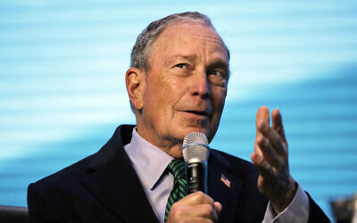 Democratic Presidential candidate and former New York City Mayor Michael Bloomberg gestures while taking part in an on-stage conversation at the American Geophysical Union fall meeting, in San Francisco, December 11, 2019. (Eric Risberg/AP)