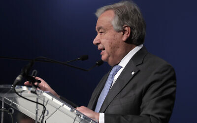 UN Secretary-General Antonio Guterres delivers a speech at the COP25 climate talks summit in Madrid, Spain, December 12, 2019. (AP Photo/Manu Fernandez)
