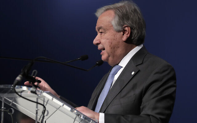 UN Secretary-General Antonio Guterres delivers a speech at the COP25 climate talks summit in Madrid, Spain, December 12, 2019. (AP Photo/Manu Fernandez)