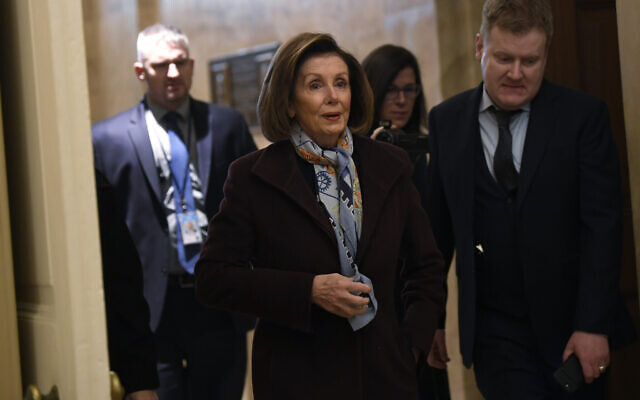 House Speaker Nancy Pelosi of California, arrives on Capitol Hill in Washington, December 18, 2019. (AP Photo/Susan Walsh)