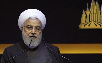 Iranian President Hassan Rouhani delivers a speech at the Kuala Lumpur Summit in Kuala Lumpur, Malaysia, December 19, 2019. (AP Photo/Lai Seng Sin)