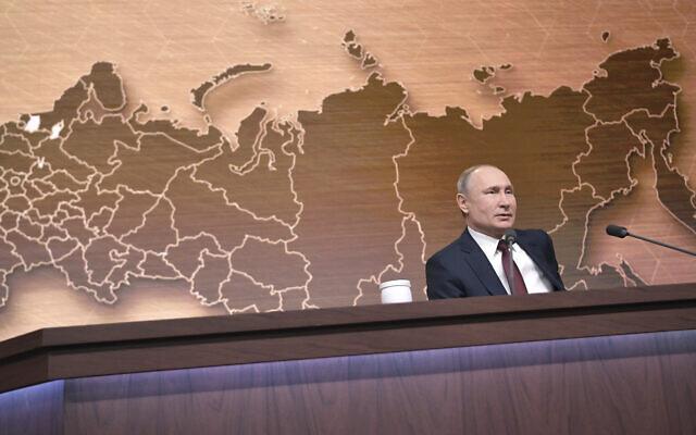 Russian President Vladimir Putin during his annual news conference in Moscow, Russia, December 19, 2019. (Alexei Druzhinin, Sputnik, Kremlin Pool Photo via AP)