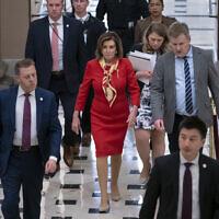 House Speaker Nancy Pelosi (C) at the Capitol in Washington, December 18, 2019. (AP Photo/J. Scott Applewhite)
