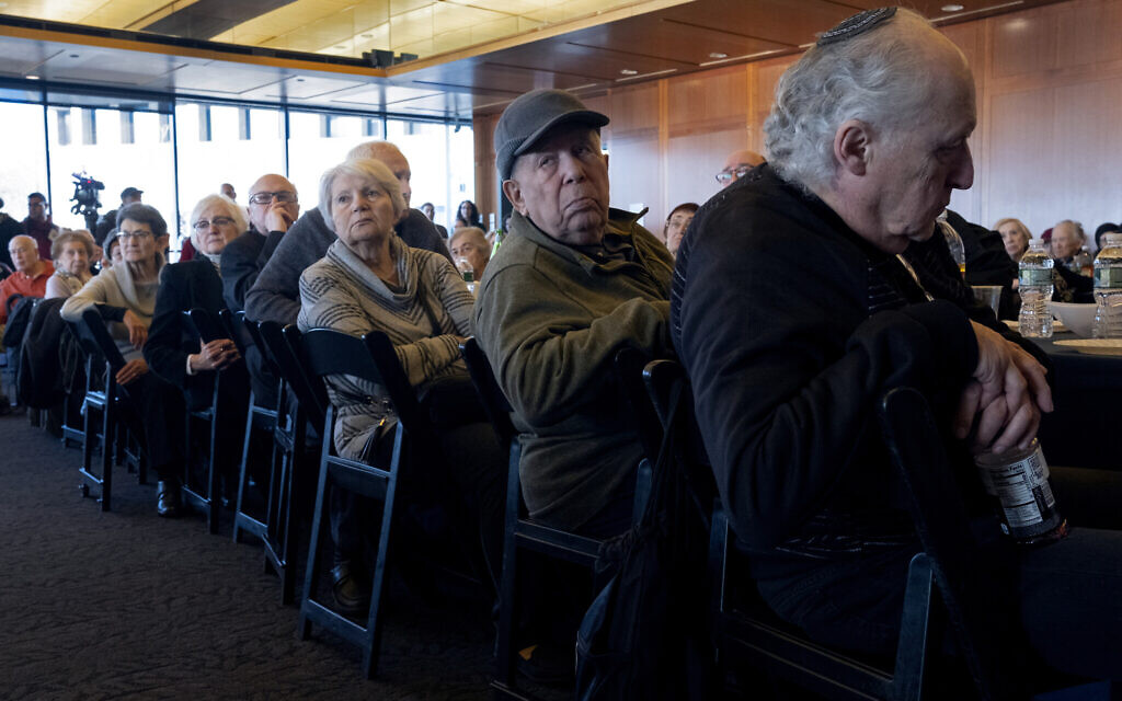 Survivors of the Holocaust and others at the Museum of Jewish Heritage in New York December 22, 2019, to recognize International Holocaust Survivors Night, one of several events held around the world. (AP Photo/Craig Ruttle)