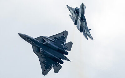 This photo from August 27, 2019, shows Russian Air Force Sukhoi Su-57 fifth-generation fighter jets perform during the MAKS-2019 International Aviation and Space Show in Zhukovsky, outside Moscow, Russia. (AP Photo/Pavel Golovkin, File)