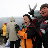 Illustrative: A Chilean Air Force C-130 aircraft at King George Island, Antarctica, November 24, 2007, rescues tourists from 14 nations after the MS Explorer struck an iceberg and sank (AP Photo/Ivan Alvarado, POOL)