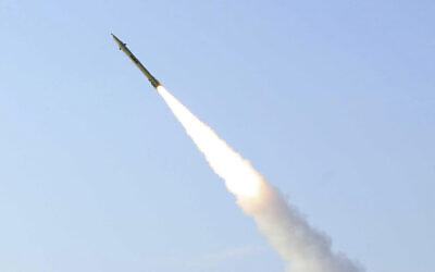 Illustrative: This photo released on August 25, 2010, by the Iranian Defense Ministry, claims to show the launch of the Fateh-110 short-range surface-to-surface missile by Iranian armed forces, at an undisclosed location. (AP Photo/Iranian Defense Ministry,Vahid Reza Alaei, HO)