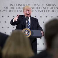 In this January 21, 2017 photo, US President Donald Trump speaks at the Central Intelligence Agency in Langley, Virginia. (AP Photo/Andrew Harnik)