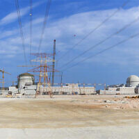 This undated photograph released by the United Arab Emirates' state-run WAM news agency, shows the under-construction Barakah nuclear power plant in Abu Dhabi's Western desert (Arun Girija/Emirates Nuclear Energy Corporation/WAM via AP)