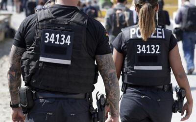 Illustrative. German federal police in Berlin, Germany, April 19, 2018. (AP Photo/Michael Sohn)