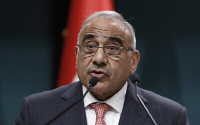 Iraqi Prime Minister Adel Abdul-Mahdi during a joint news conference with Turkish President Recep Tayyip Erdogan, in Ankara, Turkey, May 15, 2019. (AP Photo/Burhan Ozbilici)