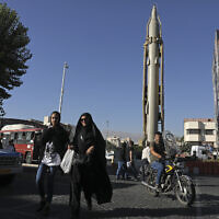 A Shahab-3 surface-to-surface missile is on display at an exhibition by Iran's army and paramilitary Revolutionary Guard in downtown Tehran, Iran, Wednesday, Sept. 25, 2019. (AP/Vahid Salemi)