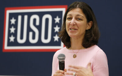 Democratic Representative Elaine Luria speaks to participants in a USO Pathfinder program in Virginia Beach, Virginia, October 4, 2019. (AP Photo/Steve Helber)