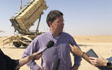 US Defense Secretary Mark Esper talks to reporters at Prince Sultan Air Base in Saudi Arabia, October 22, 2019, where he saw a Patriot missile battery that the US sent to Saudi to help protect the kingdom against the Iranian threat.  (AP Photo/Lolita Baldor)