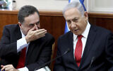 Prime Minister Benjamin Netanyahu, right, listens to then-Foreign Minister Israel Katz during the weekly cabinet meeting at the Prime Minister's Office in Jerusalem, October 27, 2019. (Gali Tibbon/Pool Photo via AP)