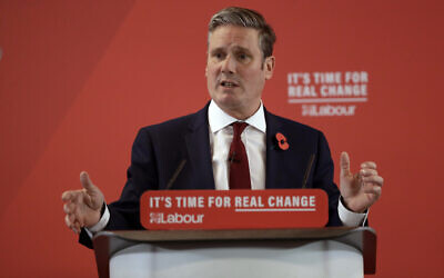 Britain's opposition Labour party Shadow Secretary of State for Exiting the European Union Keir Starmer delivers a speech at their election campaign event on Brexit in Harlow, England, November 5, 2019. (AP Photo/Matt Dunham)
