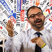 Italy's Education Minister Lorenzo Fioramonti meets with journalists at the foreign press association in Rome, November 12, 2019. (AP Photo/Gregorio Borgia)