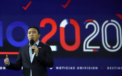Democratic presidential candidate businessman Andrew Yang speaks during a presidential forum at the California Democratic Party's convention Saturday, November 16, 2019, in Long Beach, California. (AP Photo/Chris Carlson)