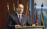 """Egypt's President Abdel Fattah el-Sissi speaks at the """"G20 Investment Summit - German Business and the CwA Countries 2019"""" on the sidelines of a Compact with Africa (CwA) in Berlin, Germany on Nov. 19, 2019. (John MacDougall/Pool via AP)"""