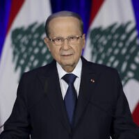 Lebanese President Michel Aoun speaks during an address to the nation at the presidential palace, in Baabda, east of Beirut, Lebanon, November 21, 2019.  (Dalati Nohra via AP)