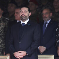 Saad Hariri attends a military parade to mark the 76th anniversary of Lebanon's independence from France at the Lebanese Defense Ministry, in Yarzeh near Beirut, Lebanon, November 22, 2019. (AP Photo/Hassan Ammar)