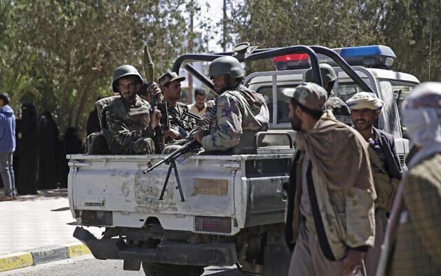 Yemeni soldiers secure Sanaa Airport, Yemen, November 28, 2019.  (Hani Mohammed/AP)