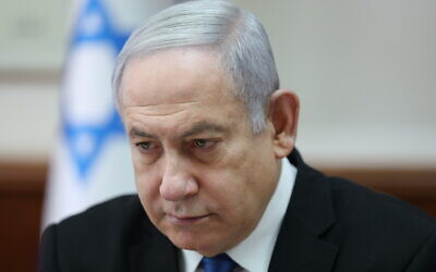 Prime Minister Benjamin Netanyahu attends the weekly cabinet meeting at his office in Jerusalem, Israel, December 1, 2019. (Abir Sultan/Pool Photo via AP)
