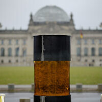"This photo from December 2, 2019, shows an oversized urn placed by the artist group 'Center for Political Beauty"" in front of German parliament building, the Reichstag, in Berlin, Germany. (Photo/Markus Schreiber)"