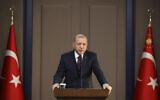 Turkey's President Recep Tayyip Erdogan speaks before departing to attend a NATO leader's summit in London, in Ankara, Turkey, December 3, 2019. (Presidential Press Service via AP, Pool)