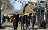 Museum director Piotr Cywinski, German Chancellor Angela Merkel, Polish Prime Minister Mateusz Morawiecki and deputy director Andrzej Kacorzyk, from left, visit the former Nazi death camp of Auschwitz-Birkenau in Oswiecim, Poland on Friday,  Dec. 6, 2019 (Photo/Markus Schreiber)