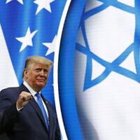US President Donald Trump walks onstage to speak at the Israeli American Council National Summit in Hollywood, Florida, December 7, 2019. (Patrick Semansky/AP)
