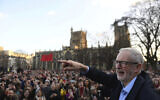 Britain's Labour Party leader Jeremy Corbyn speaks at a rally outside Bristol City Council while on the General Election campaign trail, in Bristol, England, December 9, 2019. (Joe Giddens/ PA via AP)