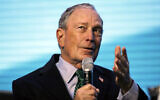 Michael Bloomberg gestures while taking part in an on-stage conversation at the American Geophysical Union fall meeting,  December 11, 2019, in San Francisco. (AP Photo/Eric Risberg)