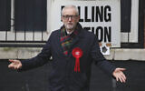 British opposition Labour Party leader Jeremy Corbyn, gestures after casting his vote in the general election, in Islington, London, England, December 12, 2019. (AP Photo/Thanassis Stavrakis)