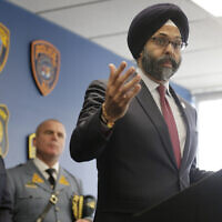 New Jersey Attorney General Gurbir Grewal speaks during a news conference in Jersey City, New Jersey, December 12, 2019. (AP Photo/Seth Wenig)