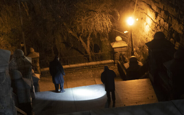 New York City police department detectives use a flashlight to look for evidence in Morningside Park, December 12, 2019, in the Upper West Side of Manhattan. (AP Photo/Mary Altaffer)