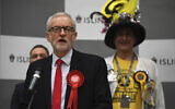 British opposition Labour Party leader Jeremy Corbyn speaks during the declaration of his seat in the 2019 general election in Islington, London, Friday, Dec. 13, 2019. (AP/Alberto Pezzali)