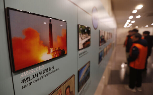 A photo showing a North Korea missile launch is displayed at the Unification Observation Post in Paju, South Korea, near the border with North Korea, December 13, 2019. (AP Photo/Ahn Young-joon)