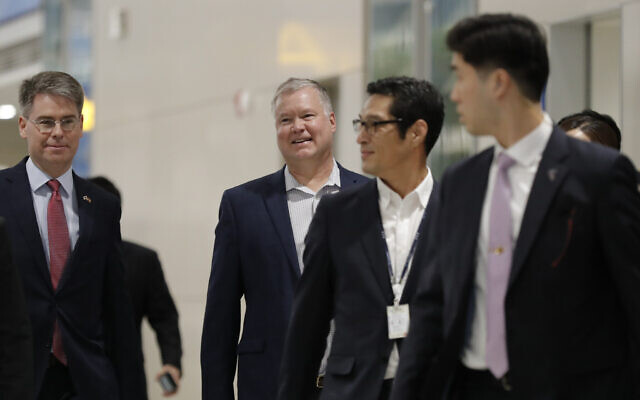 US Special Representative for North Korea Stephen Biegun, center, arrives at Incheon International Airport in Incheon, South Korea on Dec. 15, 2019. (AP Photo/Lee Jin-man)