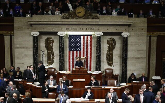 House Speaker Nancy Pelosi of California, speaks during a vote on the articles of impeachment against President Donald Trump, December 18, 2019, on Capitol Hill in Washington. (AP Photo/Patrick Semansky)