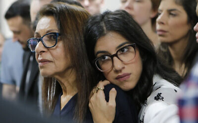 US Israeli backpacker Naama Issachar's mother Yaffa Issachar, left, and sister Liad Goldberg wait for Issachar's appeal hearing in a courtroom in Moscow, Russia, December 19, 2019. (Alexander Zemlianichenko Jr./AP)