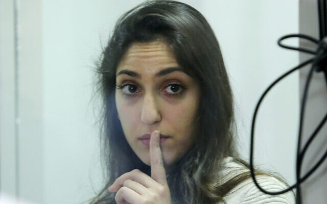 Naama Issachar gestures during an appeal hearings in a courtroom in Moscow, Russia, December 19, 2019. (AP/Alexander Zemlianichenko Jr.)